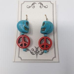 Refresh by Midori Jewelry - Handmade Peace & Skull Earrings Repurposed Beads